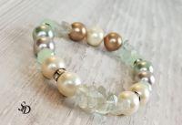 Гривна с естествени камъни и седефени перли